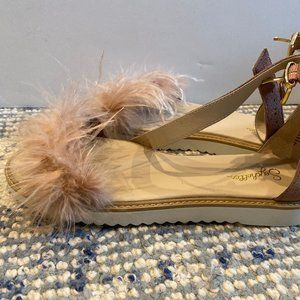Seychelles Pink Feather Ankle Strap Sandals